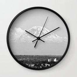 Hovering Mt Rainier in Mono Wall Clock