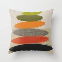 mid century modern Throw Pillows featuring Mid-Century Modern Ovals Abstract by Kippygirl
