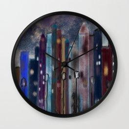 City Nights #Street Art #Multi-Media Wall Clock
