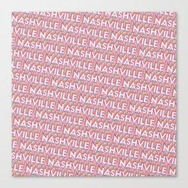 Nashville, Tennessee Trendy Rainbow Text Pattern (Pink) Canvas Print