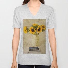 Vintage Sunflowers Unisex V-Neck
