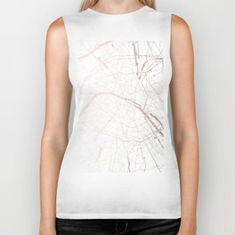 Paris France Minimal Street Map - Rose Gold Glitter Biker Tank