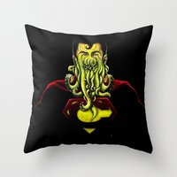 cthulu Throw Pillows featuring SuperCthulhu by 6amcrisis