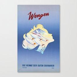 Wengen - Die Heimat Der Guten Skifahrer - Vintage Swiss Travel Poster Canvas Print