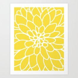 Modern Yellow Dahlia Flower Art Print
