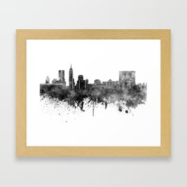 Indianapolis skyline in black watercolor on white background Framed Art Print