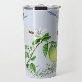 Lemon in Lavender Wreath with Bees Travel Mug