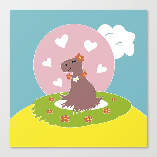 Capybara in Love Canvas Print