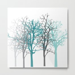 Trees teal and grey Metal Print