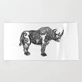 Rhino by Floris V Beach Towel