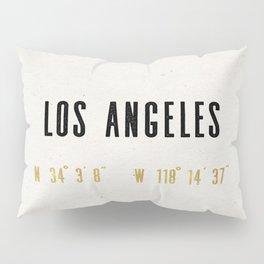Vintage Los Angeles City Gold Foil Location Coordinates with map Pillow Sham