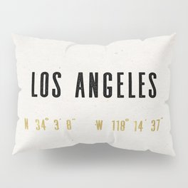 Vintage Los Angeles City Gold Foil Location Coordinates with map Pillow Sham