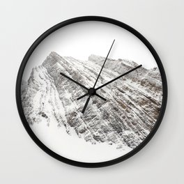 Mountain in the Canadian Rockies // Snowy Winter Scene Wall Clock