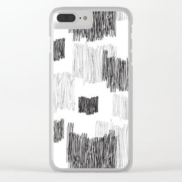 Back and gray hand-scribbled lines pattern Clear iPhone Case