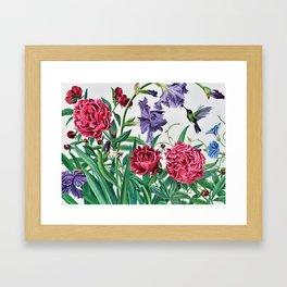 Iris and peonies Framed Art Print