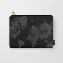 """Black and gray watercolor world map """"Coal mine"""" Carry-All Pouch"""