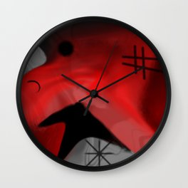 Red Blanket Abstract By Saribelle Rodriguez Wall Clock