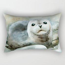 Curious seal on the pebbles Rectangular Pillow