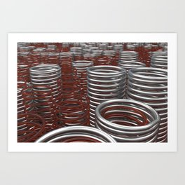Glass and metal springs and coils Art Print