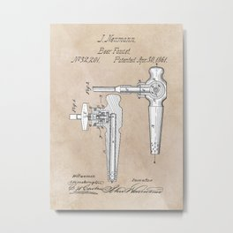 Neumann Beer faucet 1861 patent art #patent Metal Print