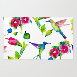 Spring, flowers and colibry Rug