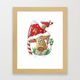 Mushroom gingerbread house Framed Art Print