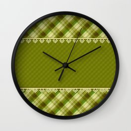 Olive plaid, plaid blanket, olive pattern, patchwork #folklore #rustic Wall Clock