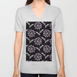 Fishnet pink flowers on a black background. Unisex V-Neck