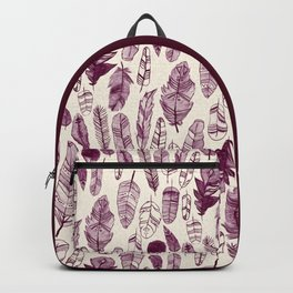 Maroon Feathers Backpack