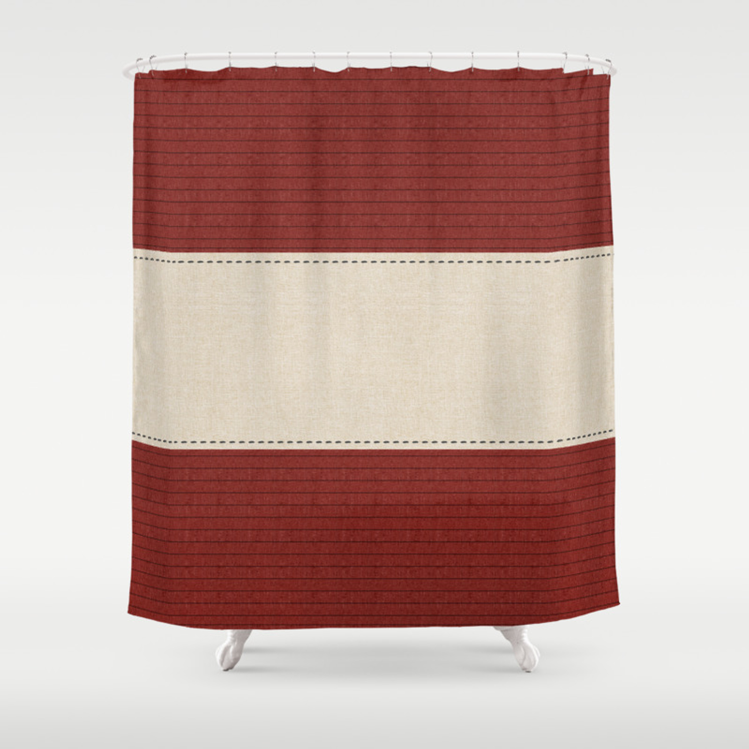Cozy Warm Burgundy Red Linen Stripes Shower Curtain