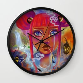 Girl surrounded by dark clouds is jealous of others Wall Clock