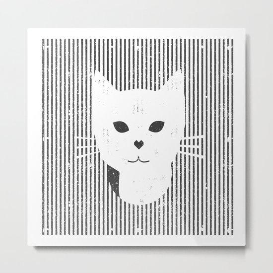 Stripe Kitty Metal Print