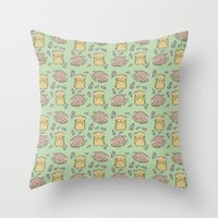 hamster Throw Pillows featuring Hamster Pattern by Noreen Torelli