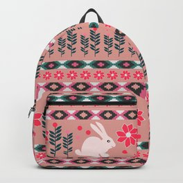 Ethnic decor with little bunnies Backpack