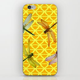 DRAGONFLIES PATTERNED YELLOW-BROWN ORIENTAL SCREEN iPhone Skin