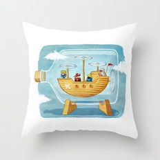 AIRSHIP IN A BOTTLE Throw Pillow
