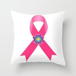 Cancer Ribbon Throw Pillow
