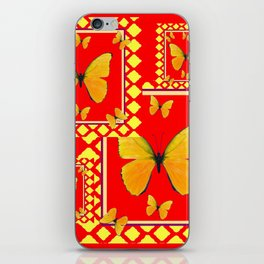 YELLOW BUTTERFLIES RED-YELLOW  PATTERNED  ART iPhone Skin