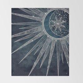 Elegant Silver Sun Moon Doodle Mandala Blue Design Throw Blanket