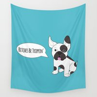 french bulldog Wall Tapestries featuring French Bulldog!!  by Laura Maria Designs