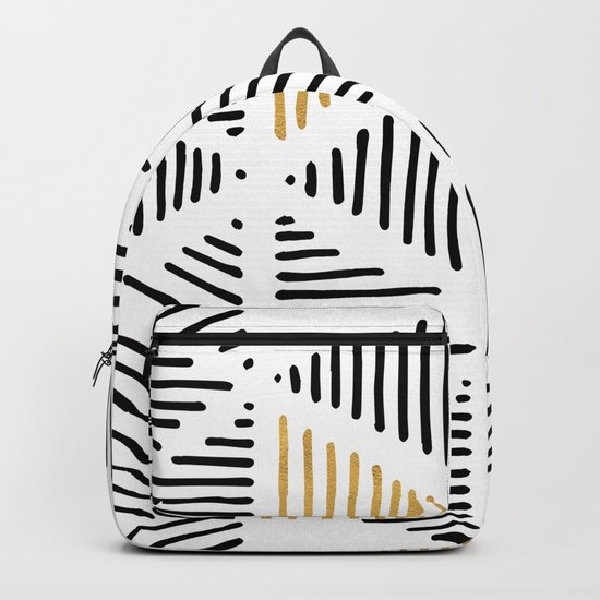 Simple Geometric Zig Zag Pattern-Black Gold White -Mix & Match with Simplicity of life Backpack
