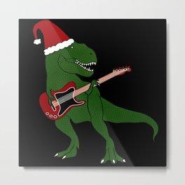 T-Rex Christmas Guitar Metal Print