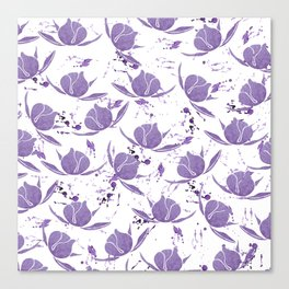 Hand painted lilac violet watercolor splatters floral Canvas Print