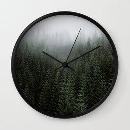 Dizzying Misty Forest Wall Clock