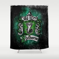slytherin Shower Curtains featuring Slytherin team flag iPhone 4 4s 5 5c, ipod, ipad, pillow case, tshirt and mugs by Three Second
