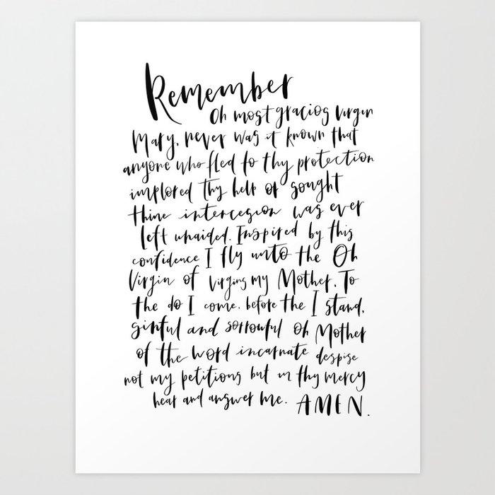 photo relating to Memorare Prayer Printable called Memorare Artwork Print through semperfidelis