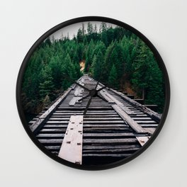 Train Tracks by the Lake & Forest Wall Clock