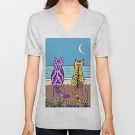 Cats on a fence by the sea Unisex V-Neck