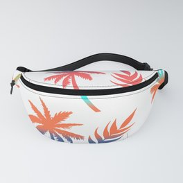 Palm Tree Summer Vibes and Leaf Print Fanny Pack