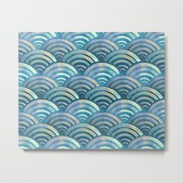 Blue fish scales pattern Metal Print